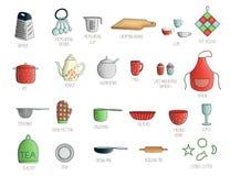 Vectorreeks gekleurd keukengereedschap met het van letters voorzien royalty-vrije illustratie
