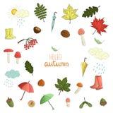 Vectorreeks gekleurde de herfstelementen stock illustratie