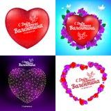 Vectorreeks Gelukkige kaarten van de de Daggroet van Valentine ` s met rode hart, vogels, bloemen, veelhoeken en punten met Russi Royalty-vrije Stock Foto