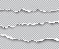 Vectorreeks gescheurde die document randen met schaduwen op transpar worden geïsoleerd vector illustratie
