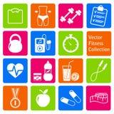 Vectorreeks geschiktheid en gezondheids het levenspictogrammen Stock Foto