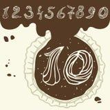 Vectorreeks gestileerde cijfers van gebakjeroom Royalty-vrije Stock Foto
