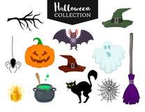 Vectorreeks getrokken vlakke het beeldverhaalvoorwerpen van Halloween hand Stock Afbeeldingen