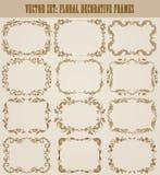 Vectorreeks gouden decoratieve grenzen, kader Royalty-vrije Stock Afbeeldingen