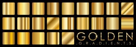 Vectorreeks gouden gradiënten Royalty-vrije Stock Afbeeldingen