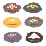 Vectorreeks graangewas en korrelemblemen Voor verpakkingsgrutten, de drukken van de keukenkruik, reclame gezond voedsel Stock Foto