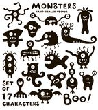 Vectorreeks grappige monsterkarakters Stock Afbeelding