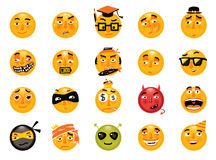 Vectorreeks grappige smileys Inzameling van emoticons Stock Afbeelding