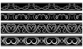 Vectorreeks grenzen Wit patroon op zwarte Royalty-vrije Stock Foto's