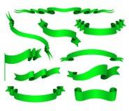 Vectorreeks Groene Linten Stock Afbeelding