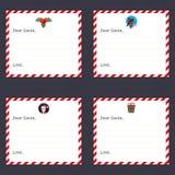Vectorreeks groetkaarten voor Kerstmis Malplaatjebrieven aan Santa Claus Modern vlak ontwerp Stock Foto's