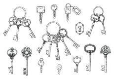 Vectorreeks hand-drawn antieke sleutels Illustratie in schetsstijl op witte achtergrond Oud ontwerp royalty-vrije illustratie