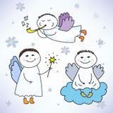 Vectorreeks hand getrokken kleurrijke leuke engelen vector illustratie