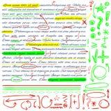 VECTORreeks hand getrokken krabbelpictogrammen Geplaatste elementen Groene, gele en rode kleuren royalty-vrije illustratie