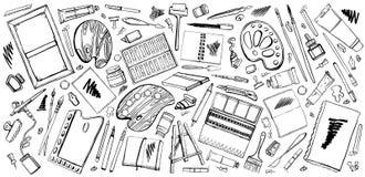 Vectorreeks hand getrokken materialen van de schets vectorkunstenaar Zwart-witte gestileerde illustratie met het schilderen van e royalty-vrije illustratie