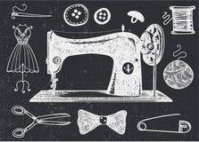 Vectorreeks hand getrokken naaiende handcraft uitstekende elementen royalty-vrije illustratie