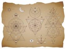 Vectorreeks Heilige geometrische symbolen met maan, oog, pijlen, dreamcatcher en cijfers aangaande oude document achtergrond met  vector illustratie