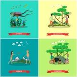 Vectorreeks het conceptenaffiches van de zomer openluchtactiviteiten, vlak ontwerp stock illustratie
