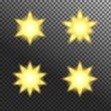Vectorreeks het gloeien lichte uitbarstingen op grijs wit Royalty-vrije Stock Foto
