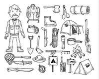 Vectorreeks het kamperen pictogrammen Royalty-vrije Stock Afbeeldingen