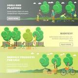 Vectorreeks het tuinieren concepten horizontale banners in vlakke stijl stock illustratie