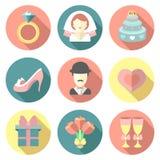 Vectorreeks huwelijks vlakke pictogrammen met lang schaduweneffect Huwelijkssymbolen op witte achtergrond worden geïsoleerd die royalty-vrije illustratie