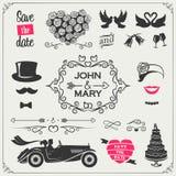 Vectorreeks huwelijkspictogrammen en elementen voor de uitnodigingen, de banners en de tekens: pijlen, harten, kronen, linten, et royalty-vrije illustratie
