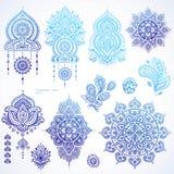 Vectorreeks Indische bloemenornamenten van Paisley Perzische Etnische Ma Royalty-vrije Stock Afbeeldingen