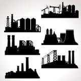 Vectorreeks Industriële Gebouwen Royalty-vrije Stock Afbeeldingen