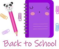 Vectorreeks, inzameling, illustratie met violet leuk notitieboekje en roze potlood met panda Terug naar School vector illustratie
