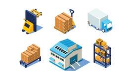 Vectorreeks isometrische pakhuis en logistiekelementen Opslag en vervoer 3D pictogrammen vector illustratie