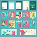 Vectorreeks kaarten met muziekkatten en inspirational citaten vector illustratie