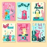 Vectorreeks kaarten met muziekkatten en inspirational citaten stock illustratie