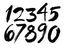 Vectorreeks kalligrafische acryl of inktaantallen, borstel het van letters voorzien stock illustratie