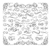 Vectorreeks Kalligrafische Lijnen van Swirly, Geplaatste Ontwerpelementen, Lijnen van de Luxe de Decoratieve Verdeler stock illustratie