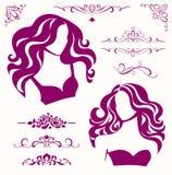 Vectorreeks kalligrafische schoonheidselementen en vrouwelijke pictogrammen Stock Afbeelding
