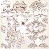Vectorreeks kalligrafische uitstekende elementen en paginadecoratie Stock Foto