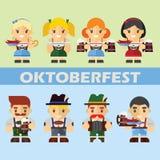 Vectorreeks karakters in een vlakke stijl voor Oktoberfest Stock Foto