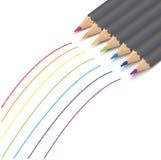 Vectorreeks kleurpotloden Royalty-vrije Stock Foto's