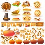 Vectorreeks kleurrijke beeldverhaalelementen voor Thanksgiving day Royalty-vrije Stock Afbeelding