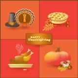 Vectorreeks kleurrijke beeldverhaalelementen voor Thanksgiving day Stock Foto