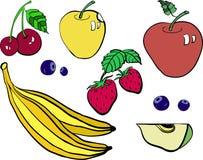 Vectorreeks kleurrijke die fruit en bessen op een wit wordt geïsoleerd Stock Afbeeldingen