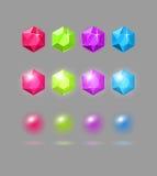 Vectorreeks kleurrijke gemmen Royalty-vrije Stock Afbeeldingen