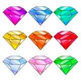 Vectorreeks kleurrijke glanzende juwelen Stock Afbeeldingen