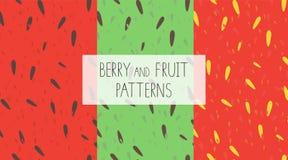 Vectorreeks kleurrijke naadloze patronen met watermeloen, kiwi en aardbeipulp royalty-vrije illustratie