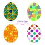 Vectorreeks Kleurrijke Paaseieren met Decoratieve Patronen Stock Foto