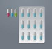 Vectorreeks kleurrijke pillen Stock Foto's