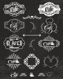 Vectorreeks koffieetiketten, ontwerpelementen Royalty-vrije Stock Afbeelding