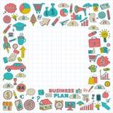Vectorreeks krabbel bedrijfspictogrammen Stock Afbeelding