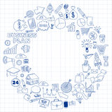 Vectorreeks krabbel bedrijfspictogrammen Royalty-vrije Stock Afbeelding